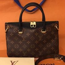 Louis Vuitton PALLAS Monogram Blended Fabrics 3WAY Bi-color Leather Elegant Style