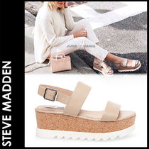 Steve Madden Open Toe Platform Plain Leather Elegant Style