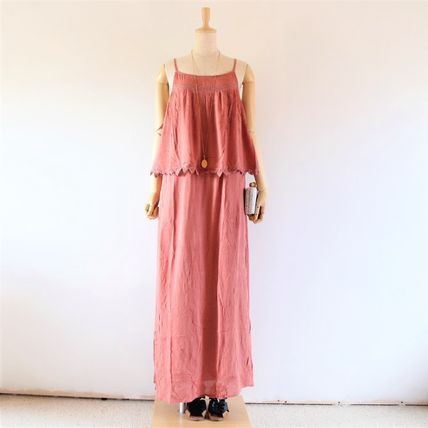 Maxi Sleeveless Boat Neck Plain Long Oversized Elegant Style