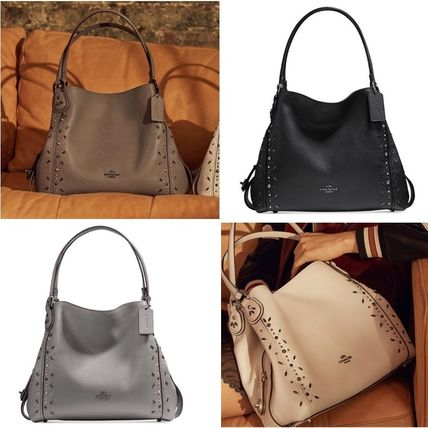 Coach Shoulder Bags Studded Plain Leather Elegant Style