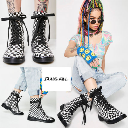 Other Check Patterns Round Toe Lace-up Casual Style