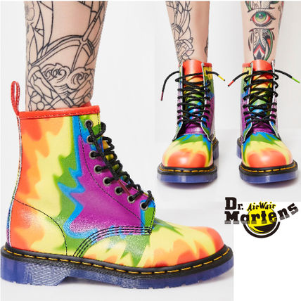 Round Toe Rubber Sole Lace-up Casual Style Tie-dye