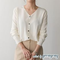 Casual Style Wool V-Neck Long Sleeves Plain Medium
