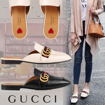 Stripes Heart Square Toe Leather Slippers Sandals