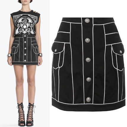 18SS BAL 248 HIGH WAISTED COTTON MINI SKIRT WITH PIPING