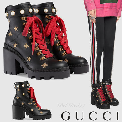 Star Platform Round Toe Lace-up Casual Style Studded