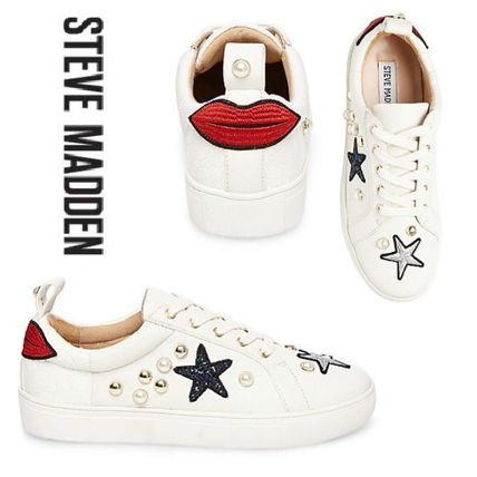 Star Round Toe Lace-up Casual Style Leather Low-Top Sneakers
