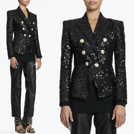 18SS BAL 252 DOUBLE BREASTED SEQUIN JACKET