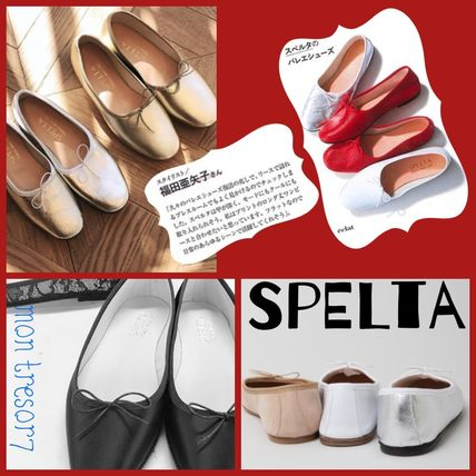 Square Toe Casual Style Leather Handmade Ballet Shoes