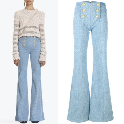18SS BAL 253 COTTON BOUCLE BUTTON FRONT FLARED PANTS