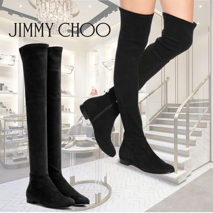 Round Toe Suede Plain Elegant Style Over-the-Knee Boots
