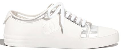 Plain Toe Lace-up Casual Style Street Style Plain Leather