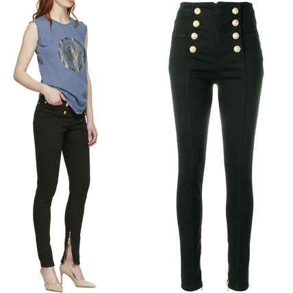 18SS BAL 255 BUTTONED SKINNY JEANS WITH ZIP DETAIL