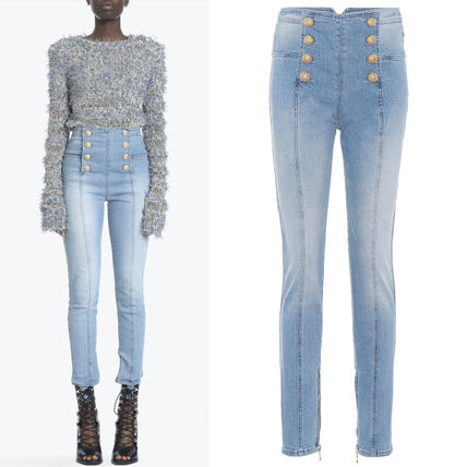 18SS BAL 256 BUTTONED SKINNY JEANS WITH ZIP DETAIL