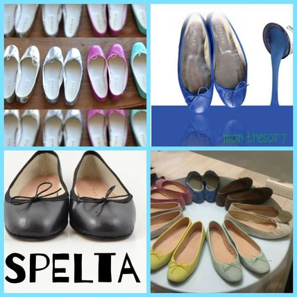 Round Toe Casual Style Leather Handmade Ballet Shoes