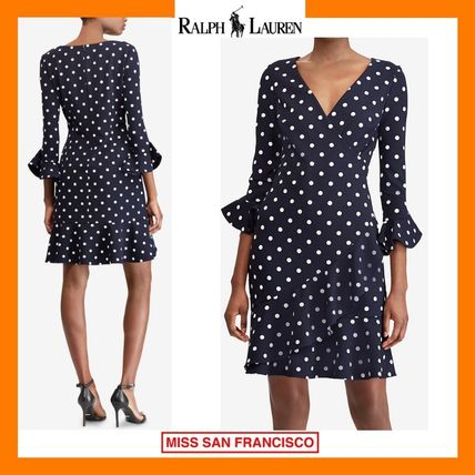 Dots Tight V-Neck Medium Elegant Style Puff Sleeves Dresses