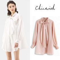Chicwish Casual Style Plain Puff Sleeves Tunics