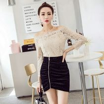 Short Dots Tight Blended Fabrics Party Style Lace Dresses