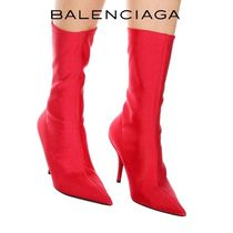 BALENCIAGA Plain Leather Pin Heels Ankle & Booties Boots