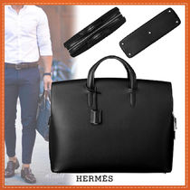 HERMES Blended Fabrics A4 Plain Leather Business & Briefcases