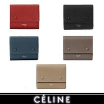 CELINE Calfskin Bi-color Plain Folding Wallets