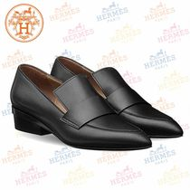 HERMES Moccasin Plain Leather Loafer Pumps & Mules