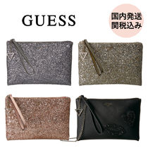 Guess Faux Fur 2WAY Chain Party Style With Jewels Clutches