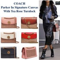 Coach PARKER Monogram Blended Fabrics 2WAY Bi-color Chain Leather
