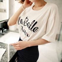 Street Style U-Neck Plain Cotton Medium Short Sleeves