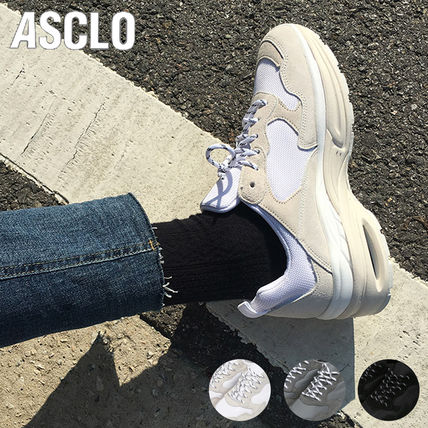 ASCLO Sneakers Unisex Suede Street Style Plain Oversized Sneakers