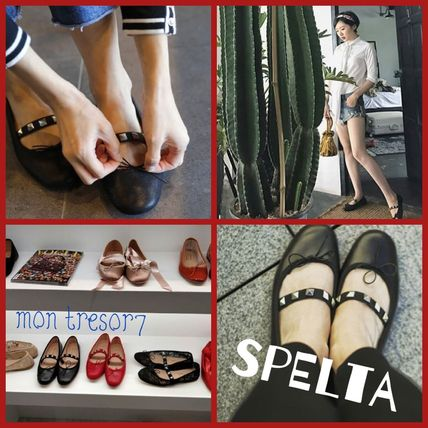 Studded Leather Handmade Ballet Shoes