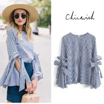 Chicwish Stripes Casual Style Medium Puff Sleeves Shirts & Blouses