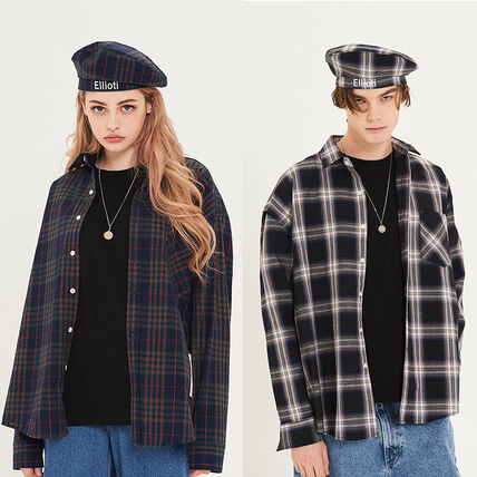Gingham Unisex Street Style Long Sleeves Cotton Oversized