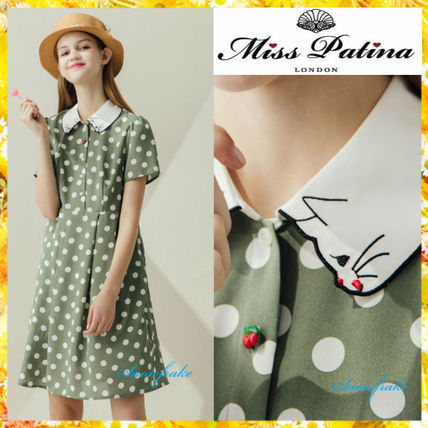 Dots A-line Short Sleeves Dresses