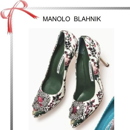 Flower Patterns Pin Heels With Jewels Elegant Style