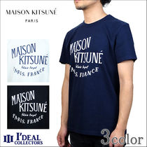 MAISON KITSUNE Crew Neck Pullovers Cotton Short Sleeves Crew Neck T-Shirts