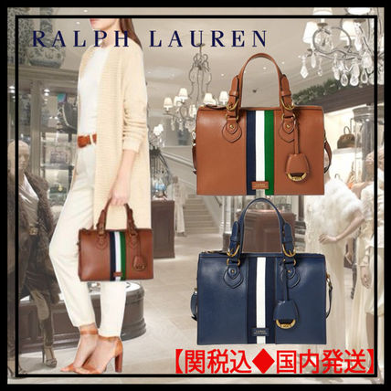 Ralph Lauren Shoulder Bags Stripes Unisex Plain Leather Elegant Style  Shoulder Bags ... 9951863c0e738