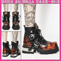 DOLLS KILL Round Toe Lace-up Casual Style Plain Leather Lace-up Boots