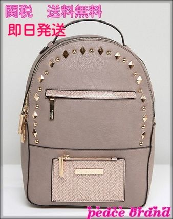 Casual Style Studded Street Style Plain Backpacks