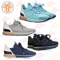 HERMES Round Toe Casual Style Leather Low-Top Sneakers