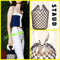 STAUD Plain Leather Straw Bags