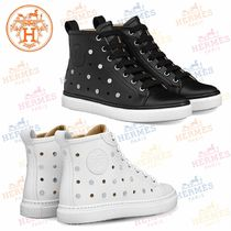 HERMES Round Toe Rubber Sole Casual Style Plain Leather