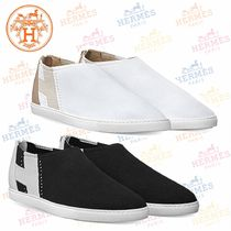 HERMES Round Toe Casual Style Blended Fabrics Plain Leather