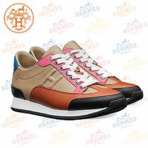 HERMES Round Toe Rubber Sole Casual Style Leather Low-Top Sneakers
