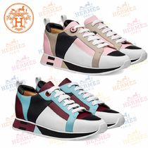 HERMES Round Toe Rubber Sole Leather Low-Top Sneakers