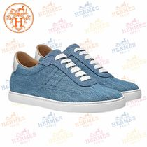 HERMES Round Toe Casual Style Plain Low-Top Sneakers