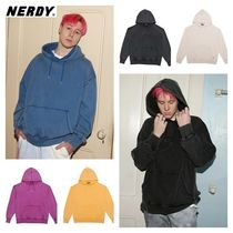 NERDY Pullovers Street Style Long Sleeves Plain Cotton Hoodies