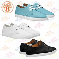 HERMES Round Toe Plain Leather Low-Top Sneakers