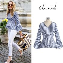 Chicwish Stripes Casual Style Long Sleeves Shirts & Blouses