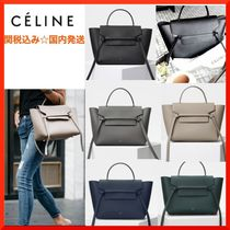 CELINE Belt 3WAY Plain Leather Elegant Style Shoulder Bags